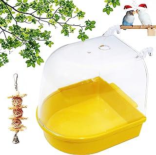 PETWAKEY-ST 鸟笼浴室盒,悬挂鹦鹉淋浴配件浴缸适用于鹦鹉金丝雀鹦鹉爱鸟预算(橙色)