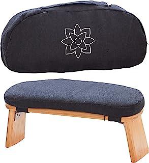 Mindful 现代折叠冥想长凳带锁定磁性铰链 - 木制Seiza跪凳,用于禅冥想姿势 - 赠送便携式旅行携带袋 - 人体工程学竹瑜伽凳