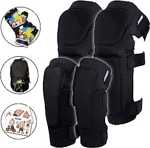 创新柔软儿童膝盖和肘部护膝带自行车手套 | 幼儿防护装备套装 带网袋和贴纸 | 舒适灵活 | 滚轮式滑雪板、自行车膝垫适合儿童男孩女孩