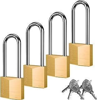 Puroma 4 件装钥匙挂锁防水实心黄铜锁,2.6 英寸(约 6.1 厘米)长锁具,适用于小屋的储物单元学校健身房储物柜、栅栏、工具箱、悬臂存储
