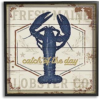 Stupell Industries Catch of The Day 复古蓝色龙虾板图案,由 Jennifer Pugh 黑色带框墙艺术,24 x 24,米色