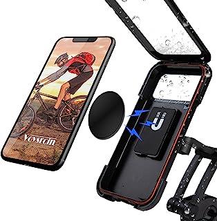 防水自行车手机支架 - 适用于摩托车,360 度旋转,磁性连接,触摸屏,适合 7.2 以下的智能手机,适合大部分直径自行车手柄