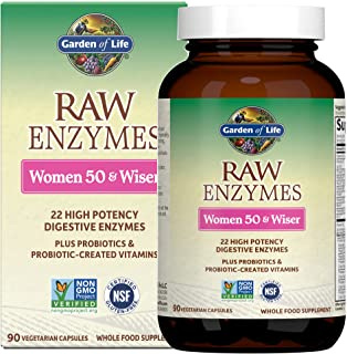 Garden of Life Vegetarian Digestive Supplement for Women - Raw Enzymes Women 50 & Wiser for Digestion, Bloating, Gas, and ...