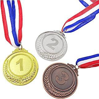 HONBAY 3 件金银铜*牌带丝带适用于体育比赛拼写蜜蜂和派对礼品(2.5 英寸)
