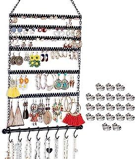 挂耳收纳盒,悬挂珠宝收纳盒耳环支架带 20 个背面和 8 个挂钩,用于悬挂耳环,项链,手链(黑色)