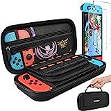 任天堂切换手提箱,带 2 个装屏幕保护膜,iVoler 保护便携式硬壳袋携带旅行游戏包,适合任天堂切换控制台配件,可容纳…