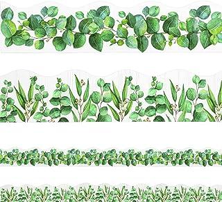 60 英尺(约 18 米)桉树模切边框装饰双面印花叶边框绿化公告板装饰热带叶子墙贴边框适用于公告板、办公桌、储物柜、学校办公室和家庭装饰