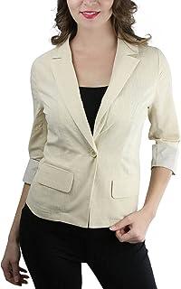 ToBeInStyle 女士半针条纹折叠袖单扣外套
