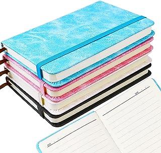 ISUSSER 4 件装小口袋笔记本杂志记事本,5.8 x 3.9 英寸,100 张厚纸硬壳迷你日记,4 种颜色
