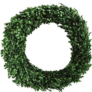 "Creative Co-op 圆形保护木花环 21"" 绿色 DA5560"