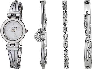 Anne Klein 安妮克莱因 女士施华洛世奇水晶点缀白色和银色手表和手镯套装 AK/3576WTST