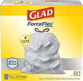 GLAD forceflexplus 加长型穿绳厨房垃圾袋无香 ForceFlex Plus 80份 80