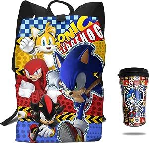 2 件 Speeding Hedgehog Team 背包隔热儿童水瓶套装旅行圣诞礼物 Sonic The Hedgehog 均码