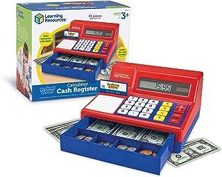 Learning Resources 儿童模拟计算器收银机,经典计数玩具,73个,适合年龄3+,蓝色,10-1 / 2 X 9-1 / 2 X 5-3 / 4英寸(约26.67 X 24.13 X 14.61厘米)