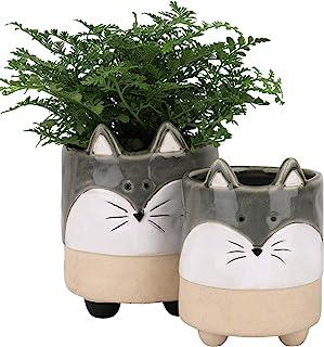 陶瓷动物多肉植物花盆 - 5.4 + 4.3 英寸(约 13.9 + 10.9 厘米)可爱狐狸形状半釉粗糙陶瓷室内花盆,适合仙人掌,圣诞节家居装饰礼品