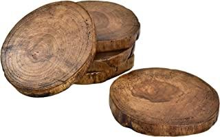 AeraVida 柚木天然树树木杯垫 5 件套