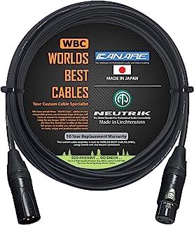 4.56 米 - 四根平衡麦克风线由 WORLDS BEST CABLES 定制 - 使用 Canare L-4E6S 线和Neutrik NC3MXX-B 公式 & NC3FXX-B 母头 XLR 插头。