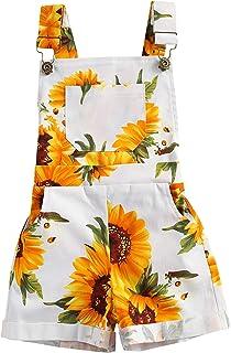 幼儿女婴向日葵工装裤带口袋背带裤背带裤连体裤夏季套装连衣裤