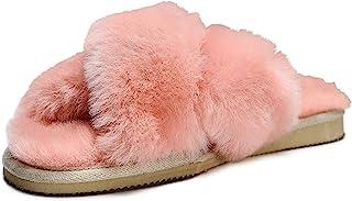 Zavelio 女式羊皮拖鞋室内户外室内室内室内皮革羊毛十字系带拖鞋粉色,8