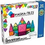 Magna-Tiles 32件透明颜色套装,用于创意开放式游戏的原始磁性建筑瓷砖,适用于3岁以下儿童 有益于大脑玩具+