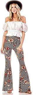 SWEETKIE 波西米亚喇叭裤,弹性腰围,女式阔腿裤,纯色和印花,弹性柔软 Black White Mauve X-Small