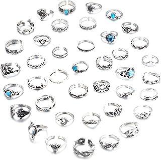 Fiasaso 40 件可调节趾环女式夏季海滩露趾戒指套装花象叶环波西米亚复古珠宝