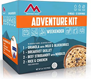 SafeCastle Adventure Weekender 套装。Granola 带牛奶和蓝莓(1 袋)。早餐煎锅(1 袋)。米饭和鸡肉(2 袋)。牛肉牛肉和牛肉(2 袋)