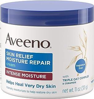 Aveeno 艾惟诺 舒缓深层保湿修护霜,含三重燕麦复合物,神经酰胺和丰富的润肤剂,不含类固醇 无香保湿身体乳霜,适合干性皮肤,11盎司/311克