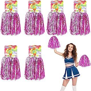FLMOUTN 12 件 Pom Poms 啦啦队,金属箔啦啦啦队球,带塑料环,运动舞蹈啦队球,适合团队精神运动派对舞蹈欢呼