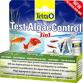 Tetra AlgaeControl 3合1 测试 - 用于测试池塘或水族箱中*重要的藻类参数的水测试,1罐(25条测试条)