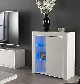 MMT Furniture Designs Ltd 现代白色哑光光泽自助餐餐边柜展示柜带 LED 灯(白色,小号)
