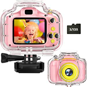 Miiulodi 儿童防水摄像机 适合女孩的生日礼物 1080P 儿童数码相机水下视频幼儿相机圣诞玩具 适合 3 岁 4 5 6 7 8 岁男孩,带 32GB 卡(粉色)