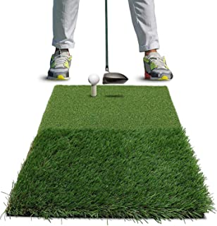 POSMA HM120 高尔夫双草坪击球垫便携式高尔夫练习垫高尔夫挥杆垫高尔夫驾驶草坪训练助手 - 40x60cm 带橡胶 T 恤