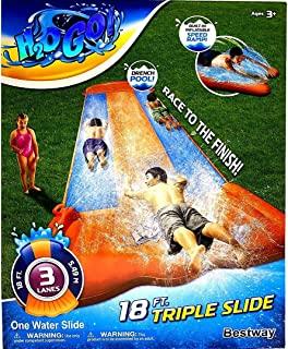 H2OGo Bestway 45.72 厘米三层水滑梯,带速度斜坡   水池终极饰面   非常适合与家人和朋友一起户外夏季派对