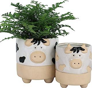 陶瓷动物多肉植物花盆 - 5.7 + 4.4 英寸(约 14.9 + 10.1 厘米)可爱奶牛形状半釉粗糙陶瓷室内花盆,适合仙人掌花,家居装饰礼品