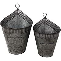 墙壁花盆悬挂金属整理器防风雨吸空气装饰植物工具厨房车库室内室外 2 件套 圆形 Galvanized Metal Sil…