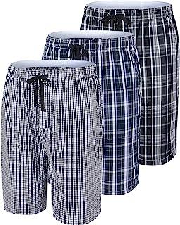 MoFiz 男孩睡衣短裤棉质格子女孩休闲柔软睡衣睡短裤(3 件装)