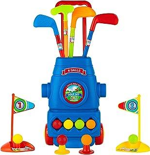 ToyVelt 儿童高尔夫球杆套装 - 高尔夫球车轮,4 个彩色高尔夫球棒,4 个球和 2 个练习孔 - 适合男孩和女孩的有趣青年高尔夫球运动玩具套件 - 促进身体和精神发展