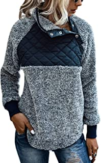 Glamaker 女式毛绒扎染套头运动衫超大夏尔巴长袖上衣带口袋