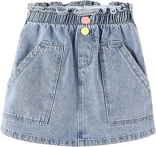 Gureui 女婴夏季牛仔裙纯色 A 字型松紧腰彩色纽扣短款迷你短裙带口袋