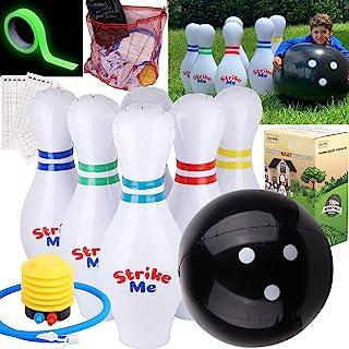 LOLO TOYS 充气保龄球套装,6 个大号大号 60.96 厘米别针和超大 60.96 厘米球,1 个泵,计分板,1 个网袋,乙烯基补丁,发光胶带