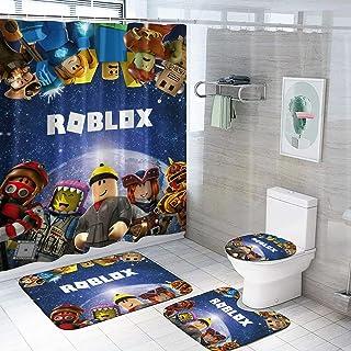 4 件男孩儿童游戏浴帘套装带防滑地毯,马桶盖和浴室垫,防水浴帘带 12 个挂钩,耐用浴室装饰-B