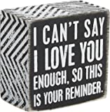 Primitives by Kathy Decorative Love 主题盒标志 黑色,白色 3 by 3-Inch…