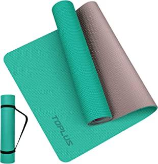 瑜伽垫超厚 1/4 英寸(约 0.6 厘米)防滑瑜伽垫,适合女士和男士,环保 TPE 健身锻炼垫,带背带,适用于瑜伽、普拉提、地板锻炼
