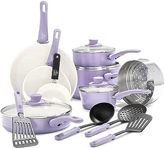 GreenLife 软握陶瓷不粘炊具套装 紫色(Lavender) 16-Piece CC001792-001