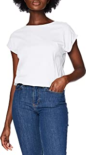 Urban Classics 女式长款肩部 T 恤基本款袖,短袖 T 恤上衣,圆领