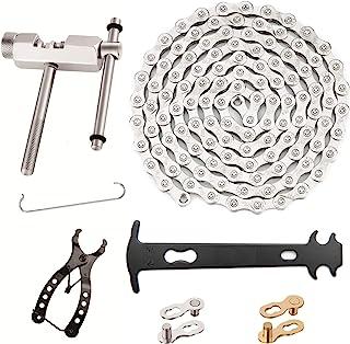 PIKAMAO 多功能自行车机械维修套件 - 断链器和链检查器包括 1 对自行车缺失链适用于 9 速链,速度自行车链 1/2 x 3/32 英寸(约 0.6 x 1.9 厘米)链节,可重复使用