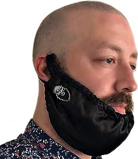 Beard Bandana - XL 男士睡前围兜 - 超大可调节面部发围围裙帽帽胡须布,适用于大胡须 - 胡须增重(耳朵短绳)