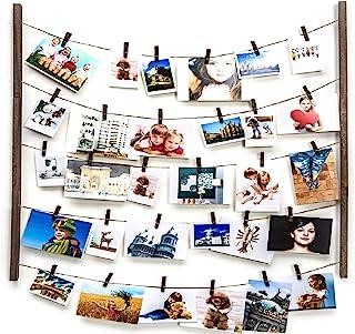 木质图片相框,用于悬挂墙壁装饰,拼贴艺术品打印多图片收纳架,带 30 个夹子和可调节单人床,DIY 木质悬挂展示框(碳化黑色)