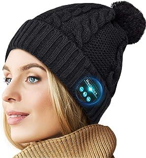 无线耳机帽,*蓝牙 5.0 和 Siri,内置高清立体声扬声器和麦克风作为生日、电子、音乐礼物,适合户外运动、跑步、散步、慢跑 黑色 Medium